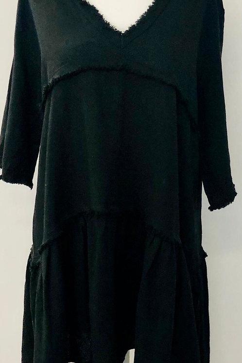 Linen mix dress black