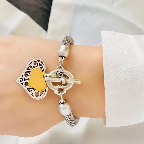 FILIGREE AND MINI HEART MESH CHAIN BRACELET, SILVER AND GOLD