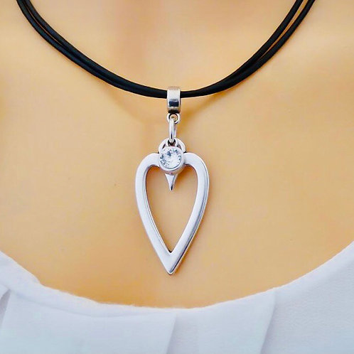 OPEN HEART AND CRYSTAL LEATHER STRANDS NECKLACE, BLACK AND SILVER