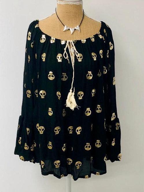 Sequin skull blouse black