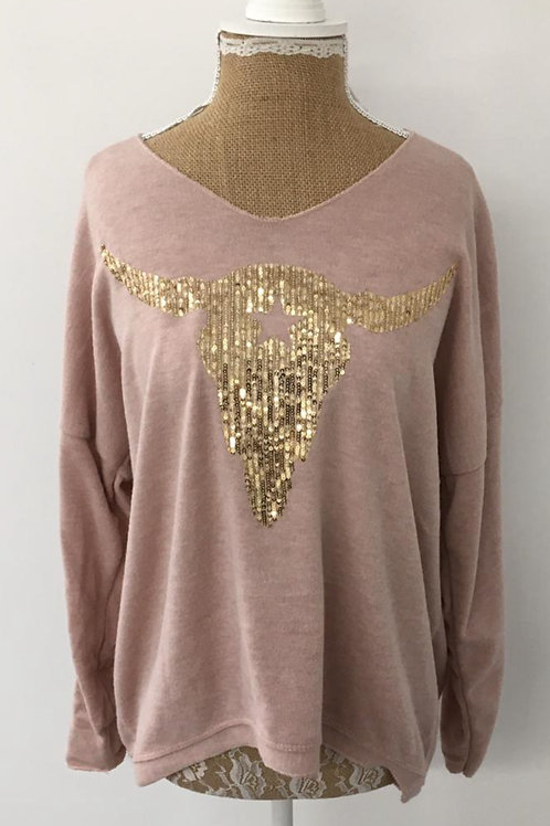 Ranch skull knit pink