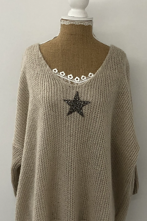 Knitted star jumper cream