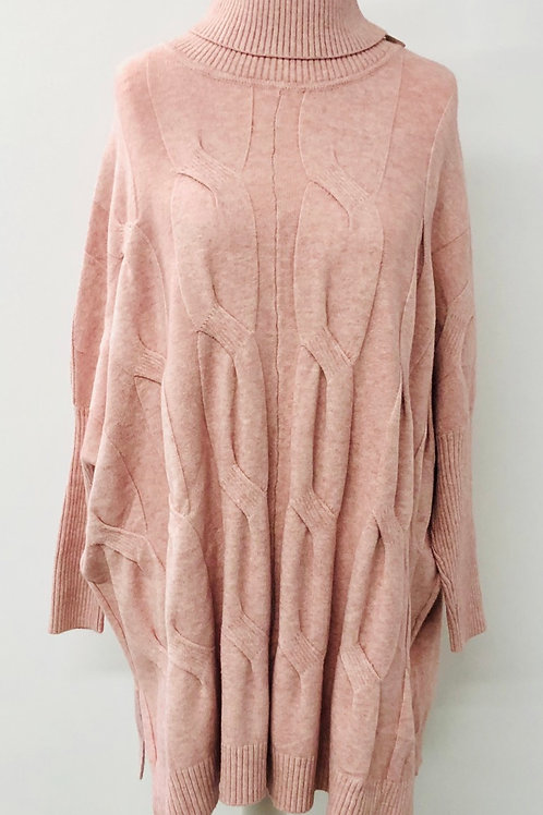 Cable knit jumper pink