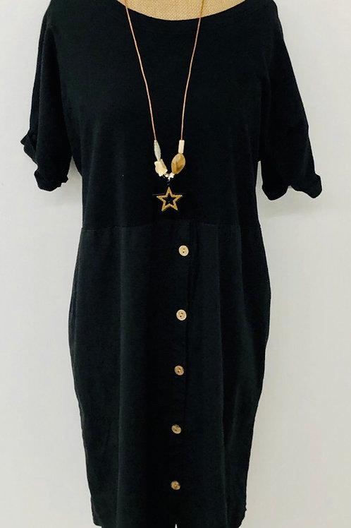 Button down dress black