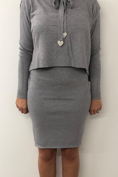 Grey knitted dress set