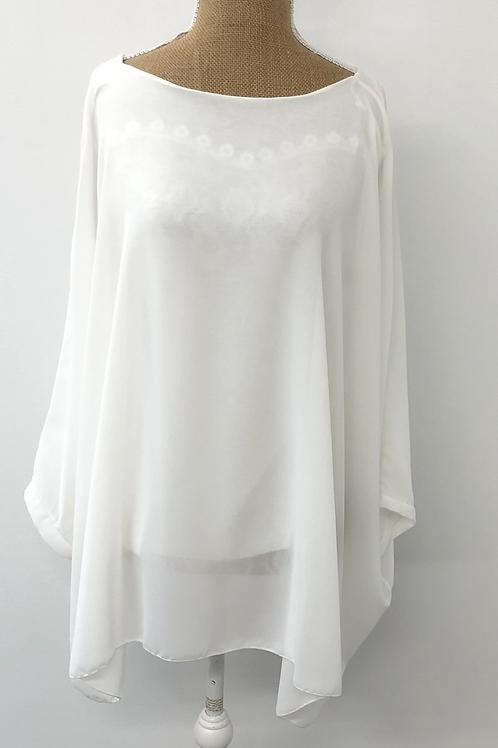 Chiffon layered blouse white
