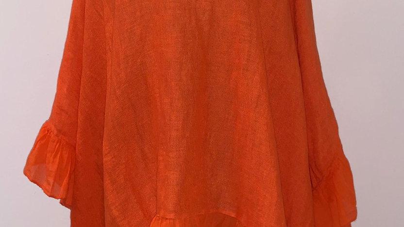 Oversized linen with ruffle hem orange