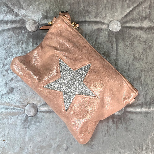 metallic pink pouch