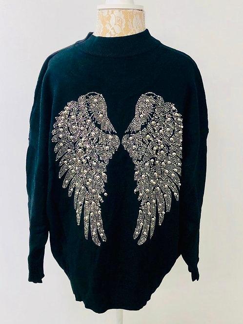 Angel wings sweater black