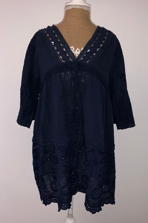 Navy linen blouse