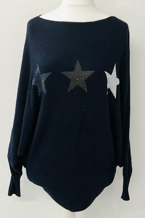 Soft star knit jumper navy