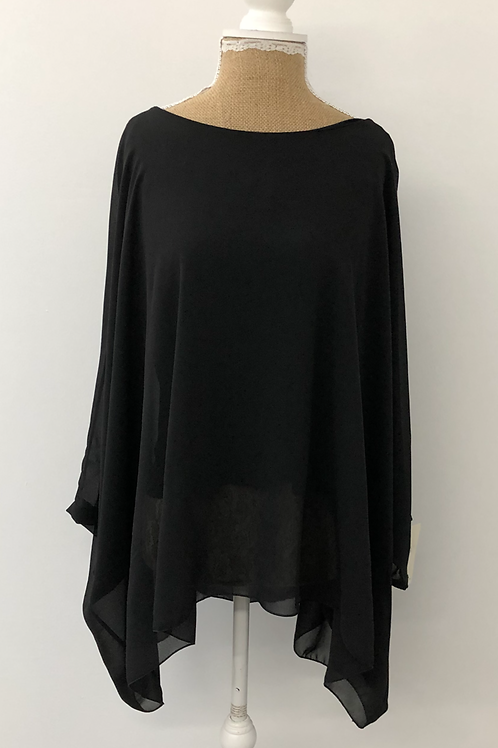 Chiffon layered blouse black