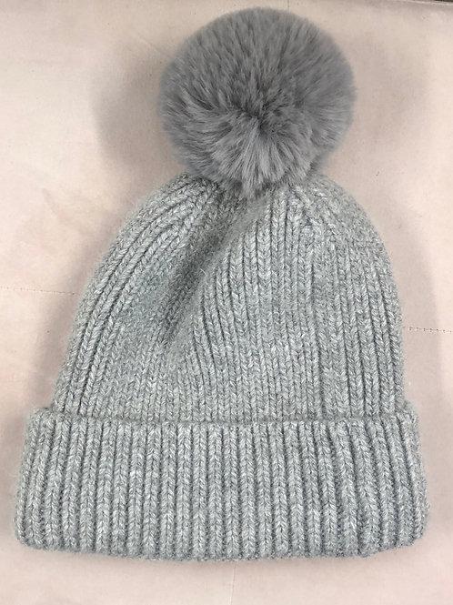 Cashmere mix bobble hat Grey