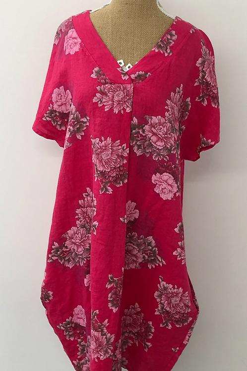 Floral linen dress Fuchsia