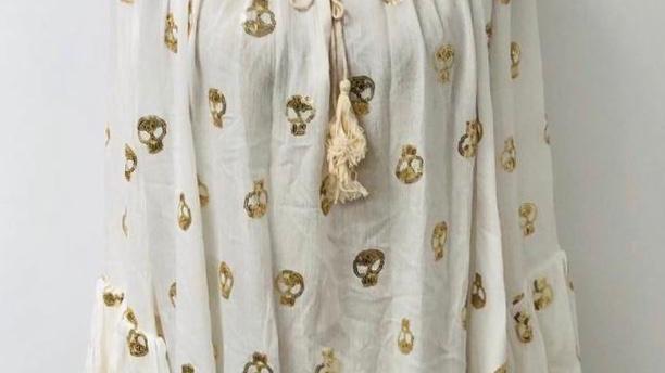 Sequin skull blouse white