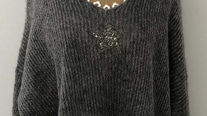 Knitted star jumper grey