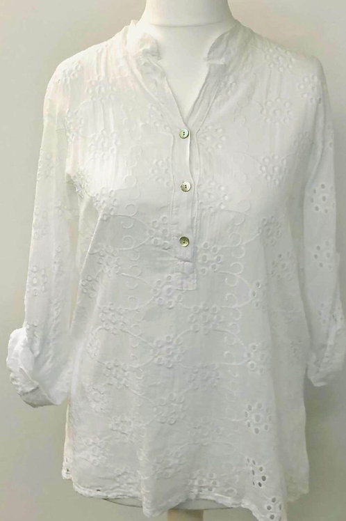Embroidery anglaise blouse white