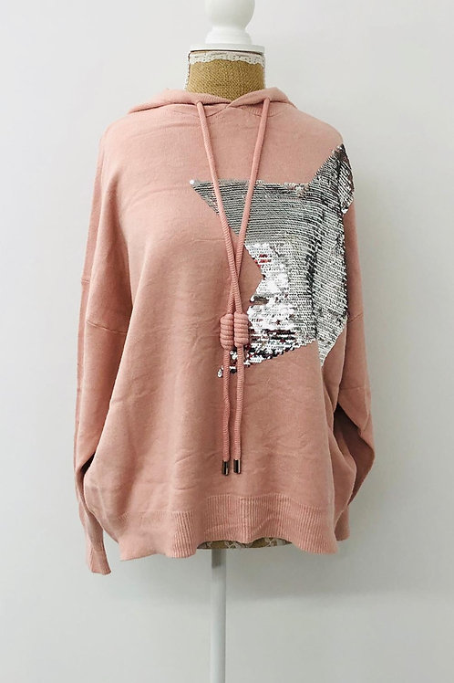 Pink star knit hoody