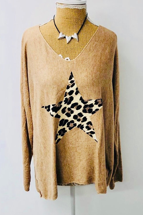 Leopard star knit cream