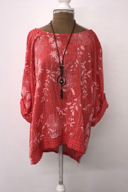 Coral linen blouse