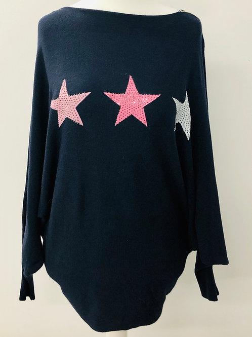 Soft knit star jumper navy