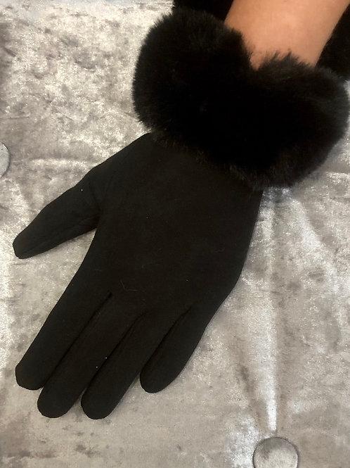 Black suedett with faux fur cuff