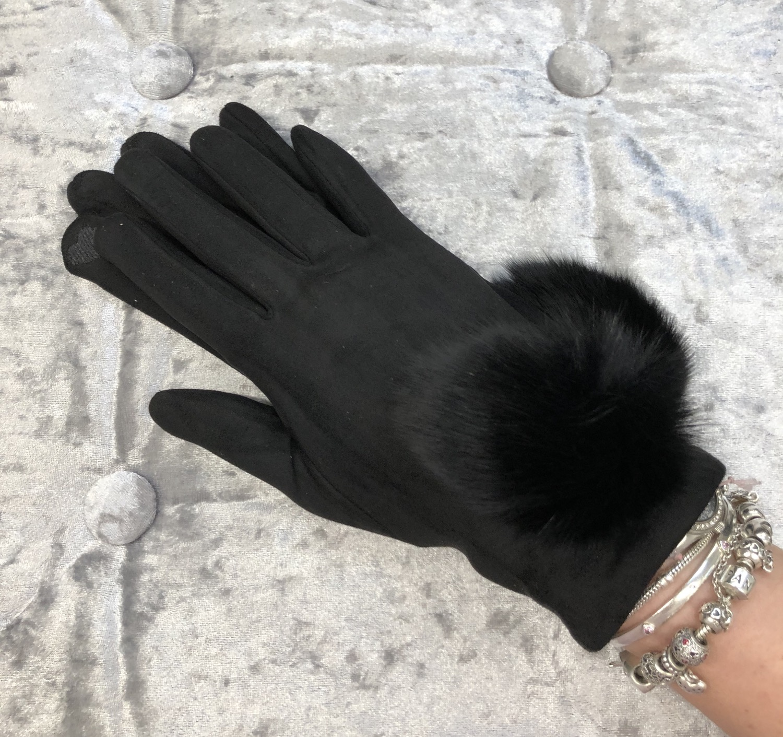 Black pom pom gloves