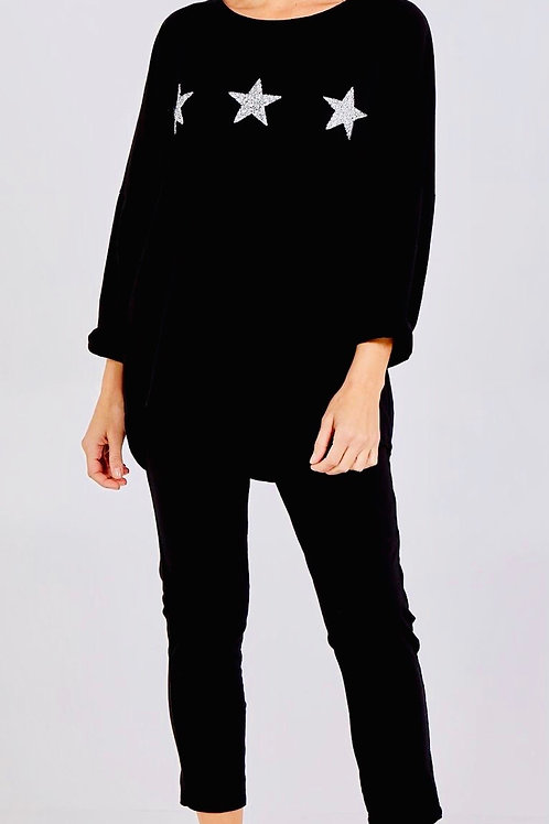 Star lounge suit in black