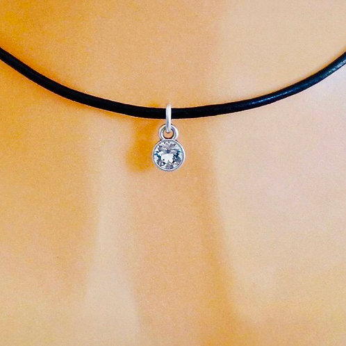 SILVER CRYSTAL CHOKER, VARIOUS COLOURS