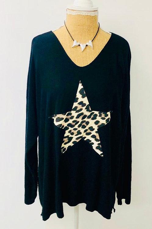Leopard star knit black