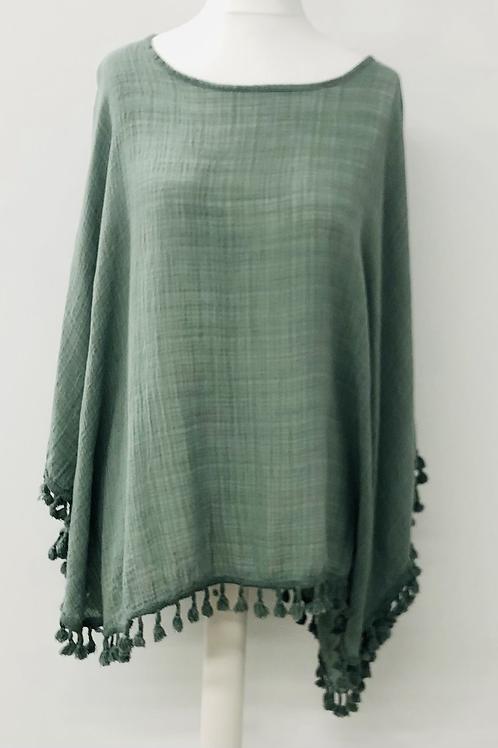 Tassel batwing blouse Kakhi