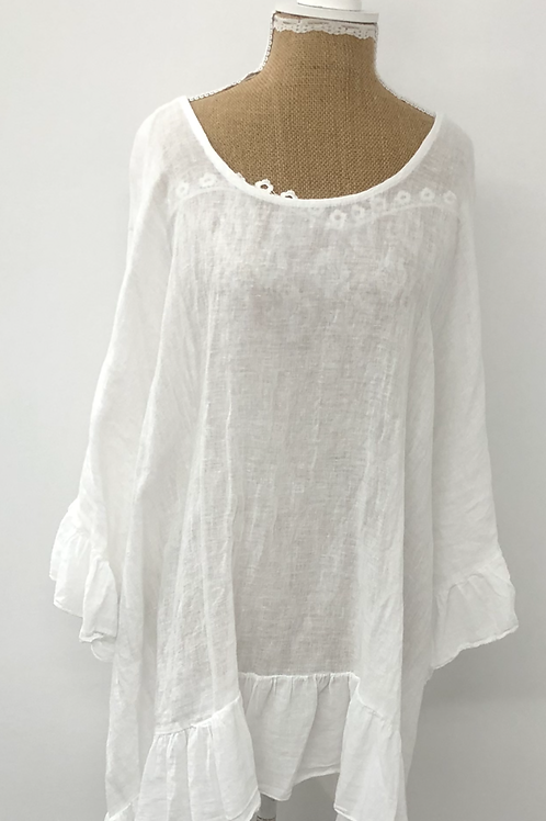 Linen blouse with frill trim