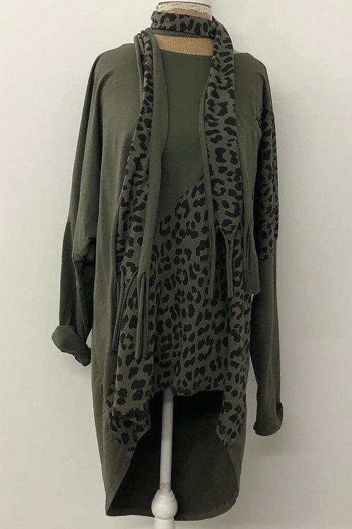 Khaki leopard tunic sweater
