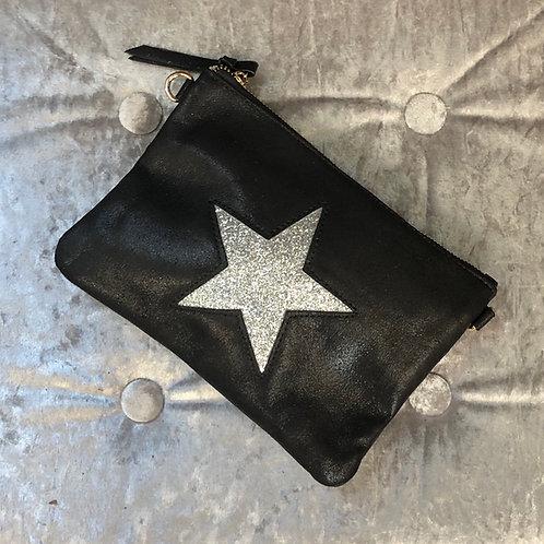 Metallic black star pouch