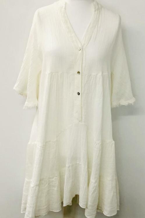 Cheese cloth dress natural white