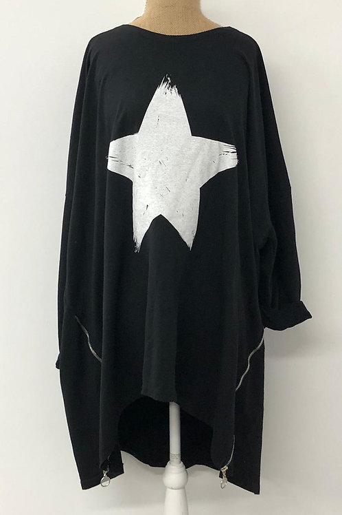 White star tunic with zip