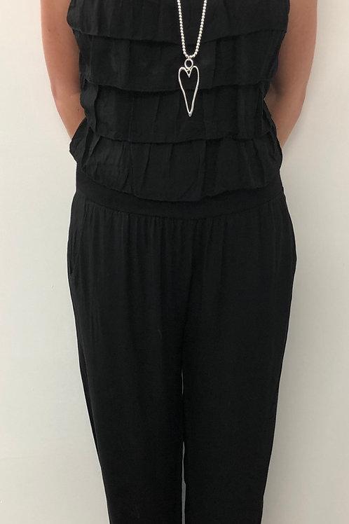 Ruffle jumper suit black