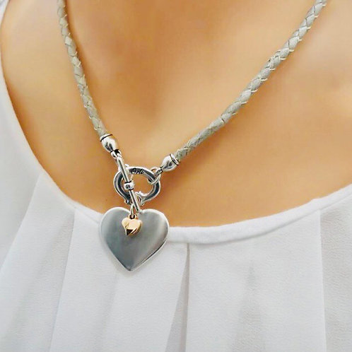 SILVER AND MINI ROSE GOLD HEART PLEATED LEATHER NECKLACE, GREY