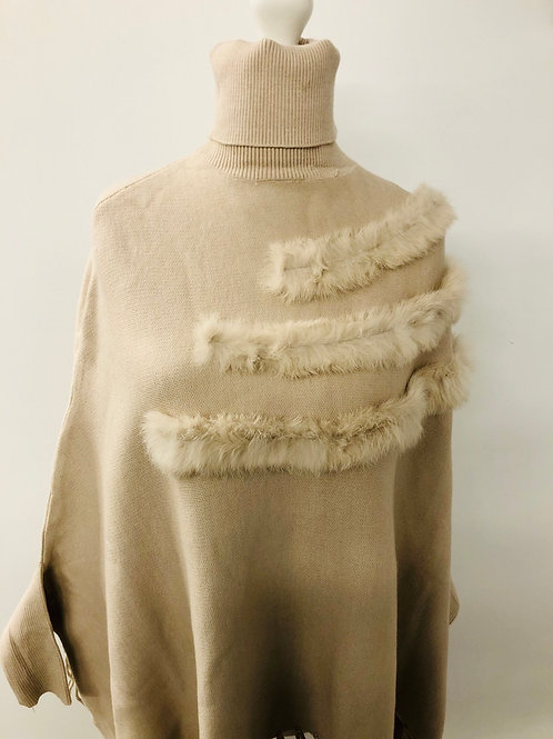 Faux trim poncho cream
