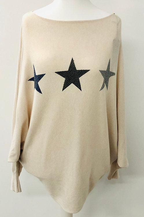 Soft knit star jumper cream