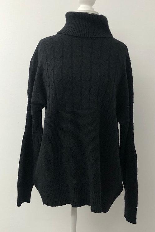 Black cable knit jumper