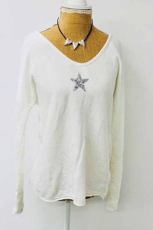 Crystal star sweater white