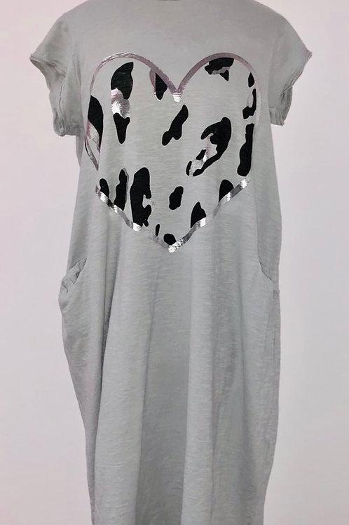 Heart T shirts dress in light grey