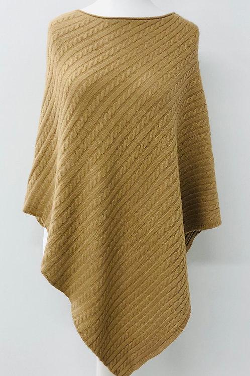 Cable knit poncho tan