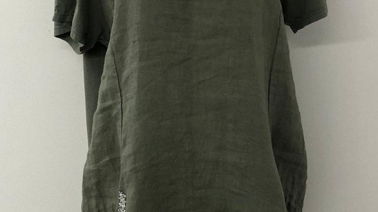 Khaki sparkle pocket linen dress