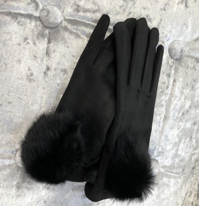 Thumbnail: Black pom pom gloves