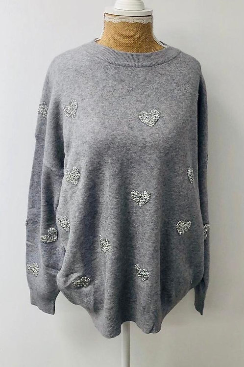 Love heart sweater grey