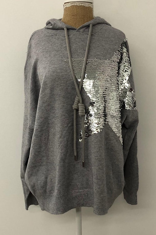Grey Star knit hoodie
