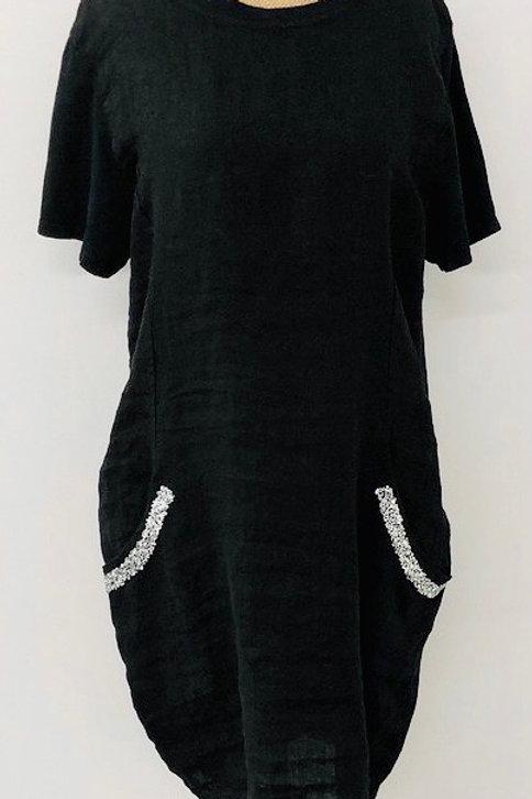 Black sparkle pocket linen dress