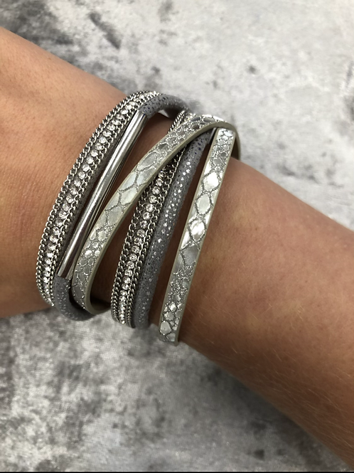 Silver Faux leather wrap